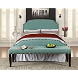 Furniture of America 2 Piece Heiden Modern Headboard with Bench Set, Full/Queen, Light Blue