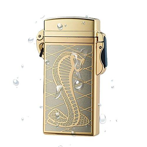 iikury Outdoor Waterproof Windproof Rechargeable Electric Cigarette Arc Lighter (Gold snake) (Rechargeable Electronic Cigarette Kit)