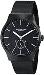 """Stuhrling Original Men's 125G.335B1 """"Classic Albion"""" Stainless Steel Black Watch with Mesh Band"""