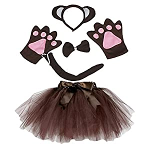 Monkey Headband Bowtie Tail Gloves Brown Tutu 5pc Girl Costume Dress for Party (Brown)