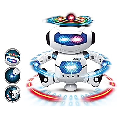 HaloVa Dancing Robot, Intelligent Electronic Walking Dancing Smart Rotary Space Robot Toys with Flashing Lights and Music for Children Kids