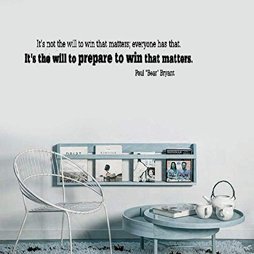 Wall Decal Wall Written Vinyl Wall Decals Quotes Sayings Words Deco Lettering It's not the will to win that matters; everyone has that. It's the will to prepare to win that matters. Paul Bear Bryant (Paul Bear Bryant Pictures)