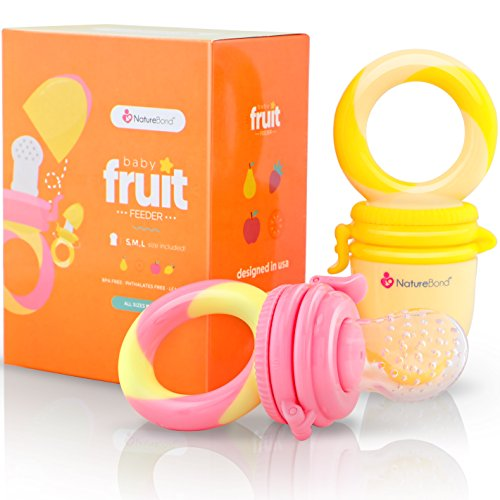 NatureBond Baby Food Feeder / Fruit Feeder Pacifier (2 PCs) - Infant Teething Toy Teether in Appetite Stimulating Colors | BONUS Includes All Sizes Silicone Sacs