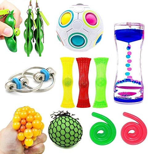 Fidget Toys Bundle Sensory Toys Set, Sensory Fidget and Squeeze Widget for Relaxing Therapy, Stress Relief Toys for Children and Adults with ADHD ADD Anxiety Autism