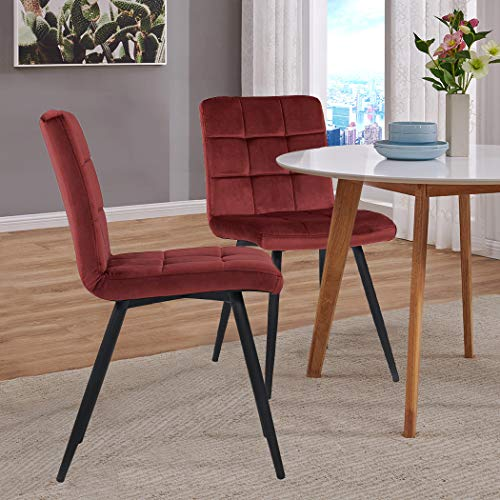 Set of 2 Kitchen Dining Chairs,Armless Chairs Modern Upholstered Accent  Chairs with Solid Steel Legs Velvet Cushion for Dining Room