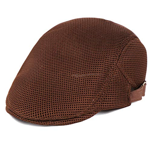 Jeremy Stone Mens Breathable Mesh Summer Duckbill Hat Newsboy Beret Ivy Cap Cabbie Flat Soft Driving Outdoor Adjustable Brown
