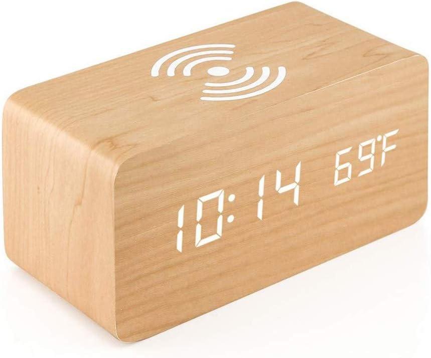 Relojes de alarma Control En La Cabecera De Voz Digital Sin Hilos Móvil De Carga del Teléfono Silenciar Reloj Electrónico LED For El Dormitorio Sala De Estar Oficina De Viajes (Color : Wood Color)