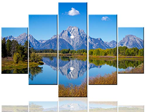 Grand Teton Canvas Landscape Pictures Snake River Paintings 5 Pcs/Multi Panel Wall -
