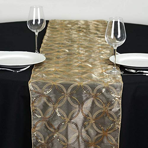 Mikash 14x108 Circle Sequin Table Runner Wedding Party Reception Dinner Decorations | Model WDDNGDCRTN - 14240 |]()