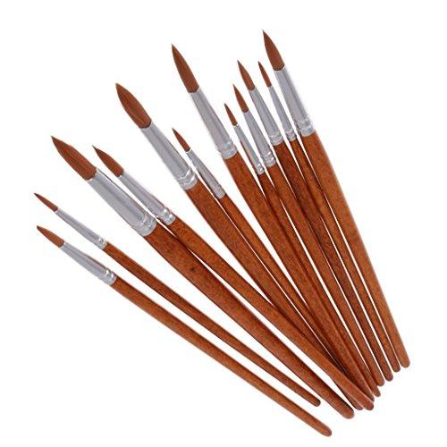 Myoffice 12本 水彩画 ラウンド 尖 先端 ナイロン アーティスト 塗料ブラシセット ブラウンの商品画像