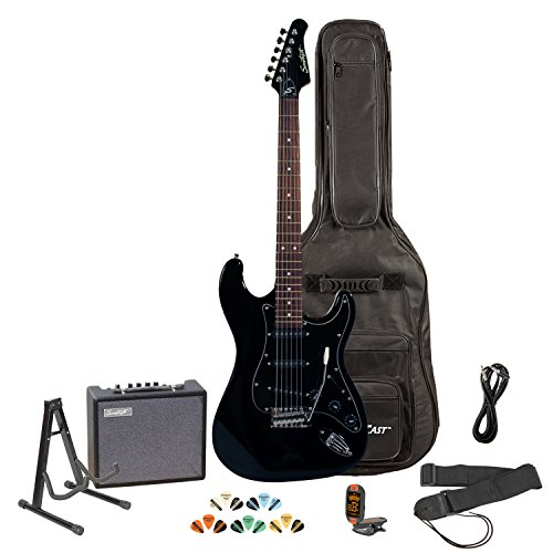 Sawtooth ST-ES-BKB-KIT-3 Black Electric Guitar with Black Pickguard - Includes...