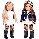 DreamWorld Collections - Trendy Jewel - 5 Piece Outfit - Jeans Jacket, White Tunic, Leggings, Beret and Black Boots - Clothes Fits 18 Inch American Girl Doll (Doll Not Included)