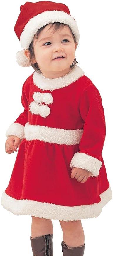 Odziezet Navidad Disfraz Bebé Santa Claus Niña Niño Conjunto Mono Christmas Traje + Sombrero con Barba 2PC 0-2 años: Amazon.es: Juguetes y juegos