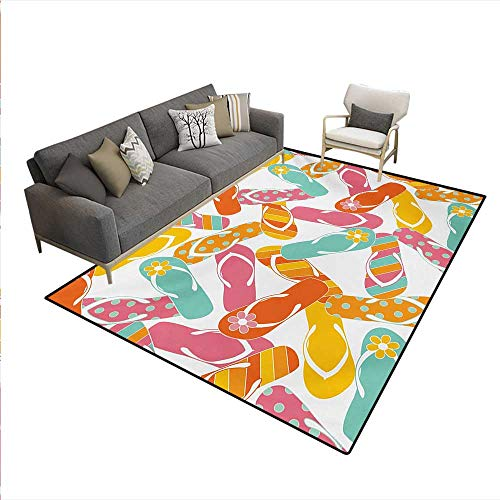 Sandal Reptile 4 - Floor Mat,Colorful Bunch Flip Flops Sandals Pattern Relax Holiday Sunbath Theme Groovy Graphic,Small Rug Carpet,Multicolor,5'x7'