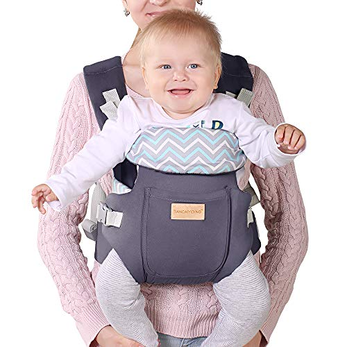 Ergonomic Baby Carrier, Soft & Breathable Baby Wrap Backpack Front and Back for Newborn& Infants to Toddlers -Dark Grey ...