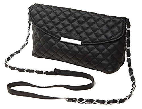 blanco negro con diseñador cuero beige negro bolso falso larga B3021BL del acolchado de o de del estilo hombro cadena Aimerfeel nPfZBUqn