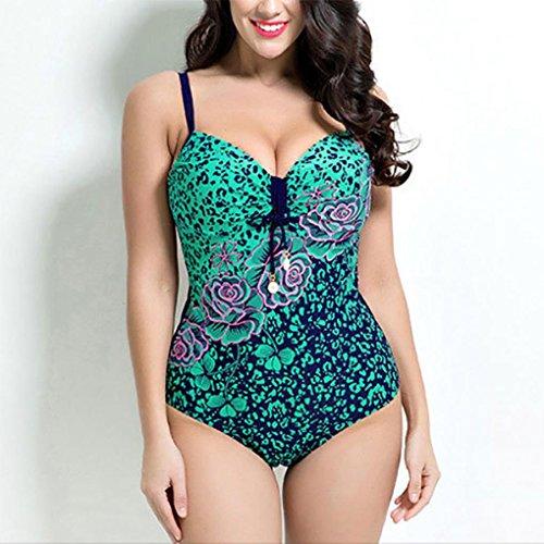 HXQ Mujeres Una pieza Bikini escotado por detrás Impresión Trajes de baño Ajustable Bandolera Green