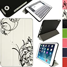 """iGadgitz Luxury White & Black PU Leather Smart Cover Case for Apple iPad Mini 1st, 2nd Generation with Retina & New iPad Mini 3 with Auto Sleep/Wake + Multi-Angle Viewing Stand + Screen Protector """"Orella's Garden"""" Fairy Flower Butterfly"""