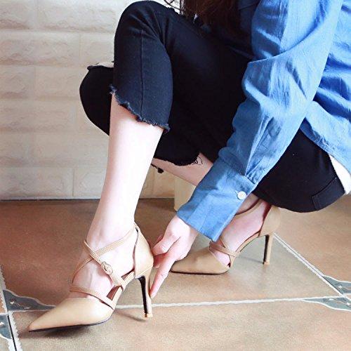 Xue Qiqi Pumps Fein mit High Heels Video's Dünne geschlitzte Punkt Riegel Cross Strap Frauen Schuhe Punkt geschlitzte Licht - Einzelne Schuhe Weiblich, 34, Beige - 94544e