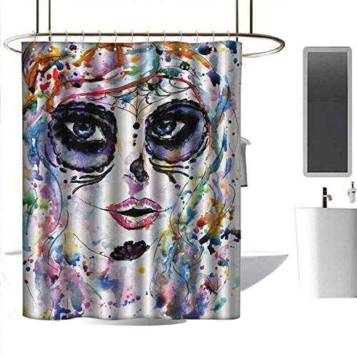 homehot Shower Curtains Dragon Sugar Skull,Halloween Girl with Sugar Skull Makeup Watercolor Painting Style Creepy Look,Multicolor,W72 x L96,Shower Curtain for Girls