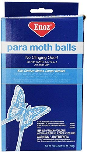 Enoz Para Moth Balls (Pack of 6) Kills Clothes Moths, Carpet Beetles, and Eggs and Larvae by Enoz