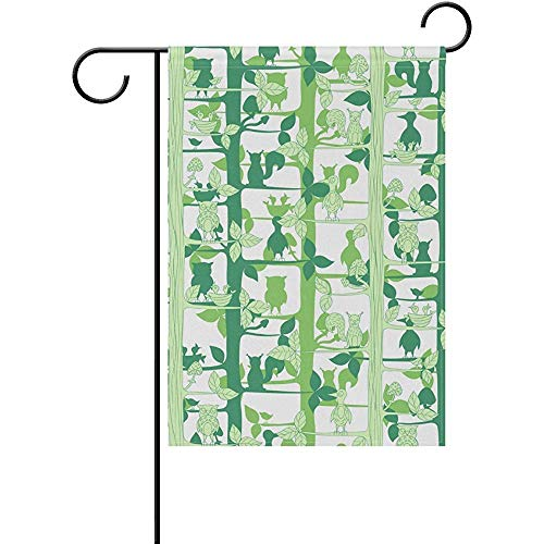 CIliik Garden Flag, Outdoor Yard Flags,Decorative House Yard Flag, Garden Flag Decorative Owls Squirrels On Green Tree Double Sided Printing Fade Proof Outdoor Courtyards 12x18 inch