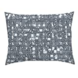 Roostery Steampunk Standard Knife Edge Pillow Sham Steampunk Panel - Pipes - Steel by Bonnie Phantasm Natural Cotton Sateen Made