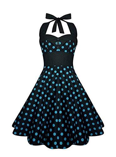 Blue Print Print black Dresses Geckatte Women's Plus Skull Dot W Retro Halter 1950s Size Floral Dress Vintage Cocktail tRaaBqw