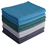 Gryeer Assorted Color Microfibre Tea Towels - Pack of 8 (2 Grey, 2 Blue, 2 Green, 2 Beige) - Soft, Super Absorbent and Lint Free Kitchen Towels, 45 x 65cm