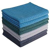 Gryeer 8er-Set Microfaser Geschirrtücher (2 Grau, 2 Blau, 2 Grün, 2 Beige) - Weiche, super saugfähige und fussel freie Küchentücher, 45 x 65 cm