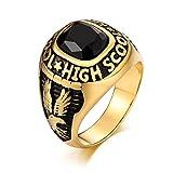 Epinki Stainless Steel for Men Punk Rock Vintage Biker Wedding Bands for Men Eagle Black Ring Size 10