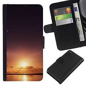 Sun & Sea - la tarjeta de Crédito Slots PU Funda de cuero Monedero caso cubierta de piel Para Sony Xperia Z3 D6603