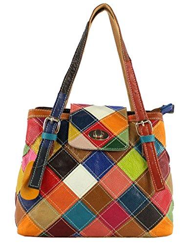 Twist Lock Hobo Handbag (Heshe Women's Leather Multi-color Tote Handbags Shoulder Bags Ladies Purses Hobo Cross Body Bag (Colorful))