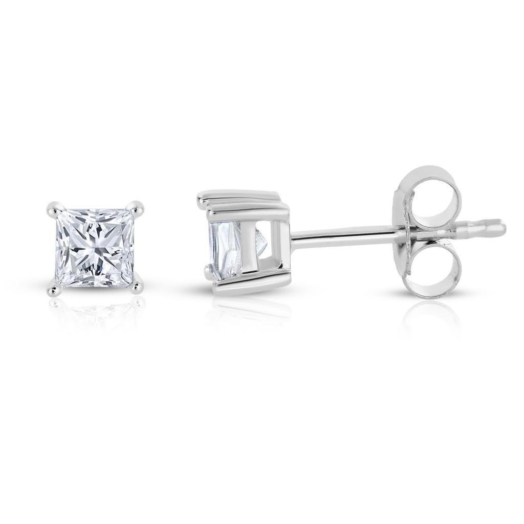 14k White Gold Princess-cut Solitaire Diamond Stud Earrings (1/5 cttw, I-J, I1-I2) by La4ve Diamonds
