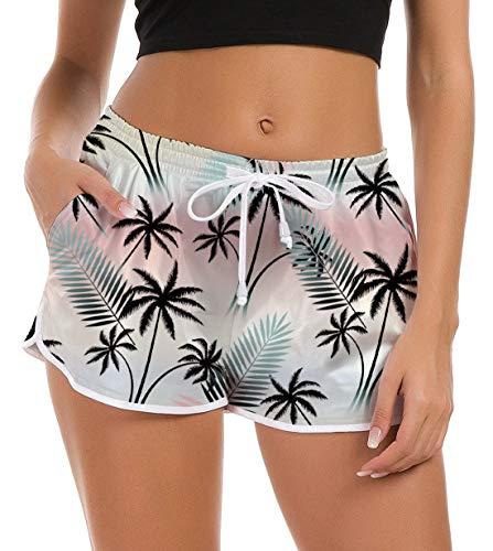 Idgreatim Women Beach Boardshorts 3D Printed Palm Tree Quick Dry Swimwear Swimsuit Teenager Girls Hawaiian Holiday Lounge Pants S