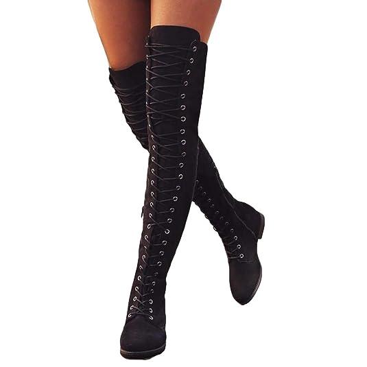 88c9d7f57 Mujer Botas Ante Tacón Plano Largo Botas Altas Otoño Zapatillas de Moda  Botas Altas Zapatos de Señoras Botines Calzado Negras Marrón Verde 35-43