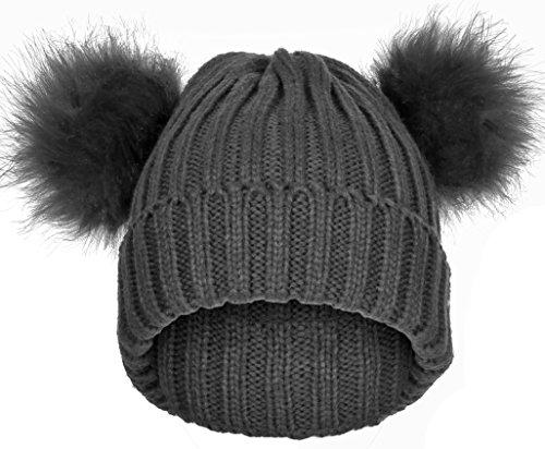 Emmalise Women's Double Pom Pom Beanie Warm Winter Knit Hat - Faux Fur Pompom - ()
