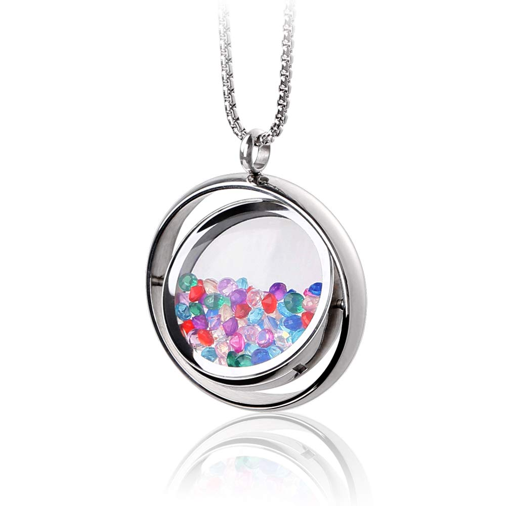 RoyAroma Floating Round Charms Locket Pendant Necklace 316L Stainless Steel Toughened Glass with Zircons Rotatable Locket Necklace, Unique Floating Locket Design.