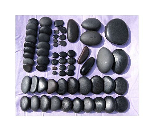 Shape Sacral (64 Pcs Deluxe Set Hot Stone Massage Great Lakes Basalt Massage Stone Hot Cold by Turner's Merchant House)