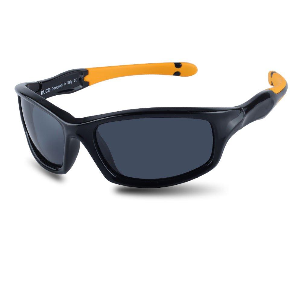 Duco Kids Sports Style Polarized Sunglasses Rubber Flexible Frame For Boys And Girls K006 (Black Frame Orange Temple Grey Lens, 55)