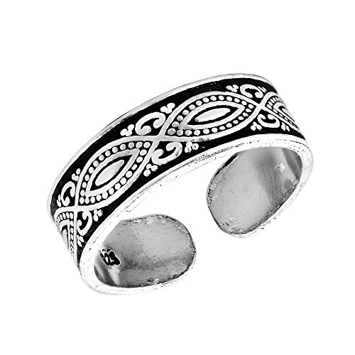 - Decorative Balinese Marquise Design .925 Sterling Silver Toe Ring or Pinky Ring