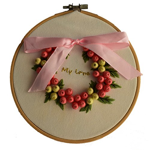 ADCorner DIY Embroidery Starter Kit Pre Printed Hand Needlework Pattern Fabric Including 6'' Bamboo Hoop and Color Threads for Handmade Gifts Wedding Decor (Pink Fruits Garland)