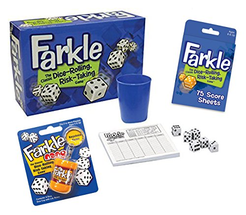 (Deluxe Farkle Dice Game Gift Set - Includes Full Size Farkle Game, Pocket Farkle, Scoresheets and Quick Reference Scoring Guide)