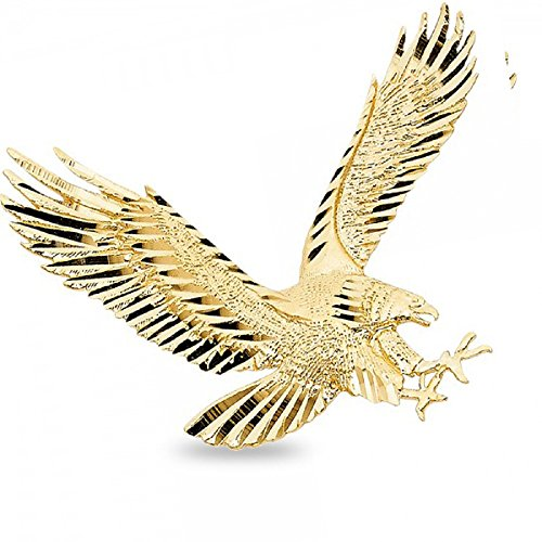 GemApex Big Eagle Pendant Solid 14k Yellow Gold Bird Charm Diamond Cut Polished Design Large 35 x 45 mm