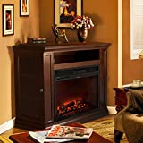 XtremepowerUS Electric Portable Fireplace with TV Stand, Corner (Espresso, with fireplace)