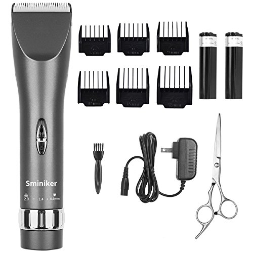 Sminiker Professional Cordless Haircut Kit Rechargeable Hair Clippers Set with 2 Batteries, 6 Comb, Guides and Scissors - Grey - Hair Clipper Kit