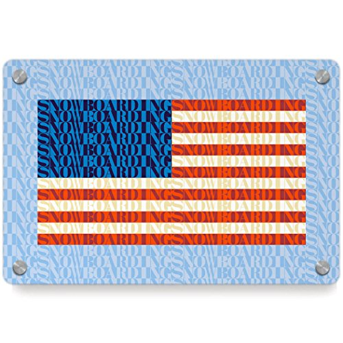 American Flag Mosaic | Snowboarding Metal Wall Art Panel by ChalkTalkSPORTS | Multiple Colors