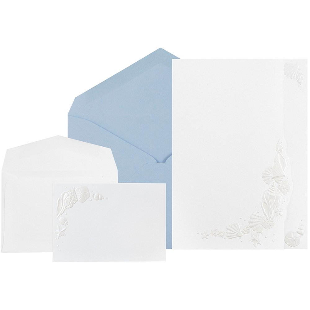 JAM Paper® Wedding Invitation Combo Set - 1 Small & 1 Large Set - White Embossed Seashell Cards with Nautical Blue Envelopes - 150/pack