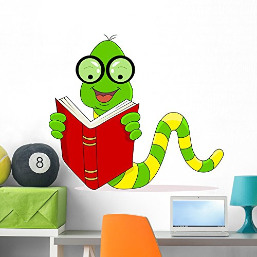 Happy Worm Reading Book Wall Decal by Wallmonkeys Peel and Stick Graphic (36 in W x 32 in H) - To Find Glasses Nerd Where