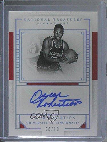 Signature Basketball Silver (Oscar Robertson #8/10 (Basketball Card) 2016 Panini National Treasures Collegiate - Signatures - Silver #71)